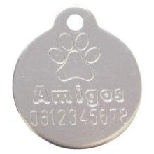honden penning Gegraveerde standaard hondenpenning van hondenpenning.net HETDIER.nl Amigos rond met oog