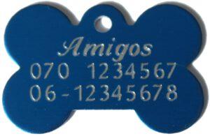 Hondenpenning bot in blauw bij Hondenpenning.net Amigos, HETDIER.nl en Animalwebshop