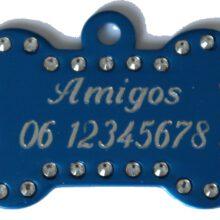 Hondenpenning bot swarovski blauw gegraveerd bij Hondenpenning.net Amigos, HETDIER.nl en Animalwebshop