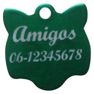 Goedkope kattenpenning graveren budget kattenkopje groen Amigos animals Animalwebshop Hondenpenning.net HETDIER.nl