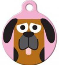 Hondenpenning maken Cartoon hond roze bij Hondenpenning.net HETDIER.nl Amigso