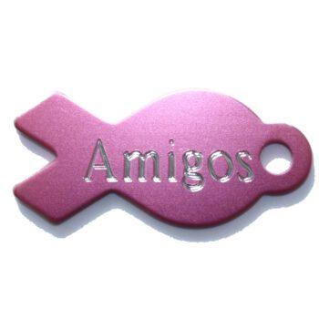 Hondenpenning mt naam Pink Ribbon roze lintje bij AnimalWebshop HETDIER.nl Hondenpenning.net