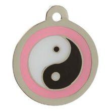 Yin Yang pink design hondenpenning Animalwebshop