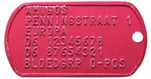 identiteitsplaatje ID Tag Dog Tag rood bij AnimalWebshop.com