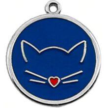 Kattenpenning hondenpenning kattenkopje blauw