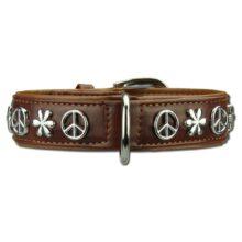 Hondenhalsband peace bruin Hondenpenning.net Animalwebshop