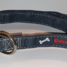 Jeans denim spijkerstof honden halsband Hondenpenning.net HETDIER.nl Animalwebshop