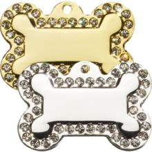 Hondenpenning glitter bling bot swarovski glamour bone zilver en goud kleurig Hondenpenning.net HETDIER.nl Adrespenning.com AnimalWebshop